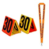 Champion Sports Day-Night Sideline Marker Set Yellow/Orange/Black (Set of 11) with 1 Performall Lanyard SLMSET-1P