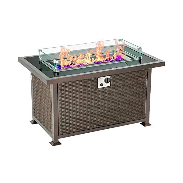 U Max 44in Outdoor Propane Gas Fire Pit Table 50 000 Btu Auto Ignition Gas Firepit With Glass Wind Guard Black Extensivesales