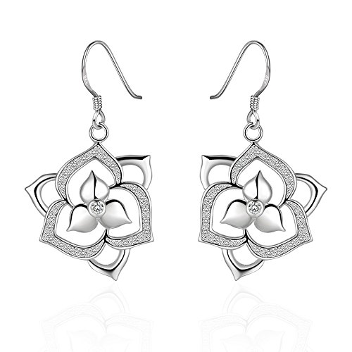 PMANY Mother's Day Gift Sterling 925 Silver Plated Flower Dangle Hook Earrings (Round Silver Mesh Sterling 925)