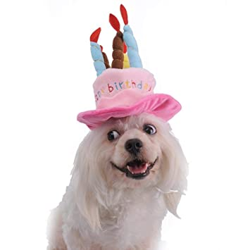 Cute Hat Pet Cap Birthday Party With Happy Candles For Dogs Cats