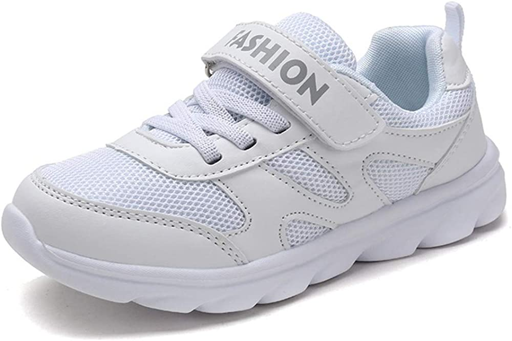 JICC Kids Lightweight Sneakers Boys Girls Casual Sport Running Walking Shoes White White,EU 35//3 M US Little Kid