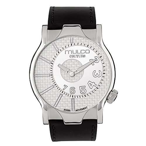 Mulco Couture NYC Quartz Slim Analog Swiss Movement Men's Watch | Premium Analog Display with Steel Metal Plaque Accents | Black Watch Band | Water Resistant Stainless Steel Watch MW5-2013-221 - Built Date Plaque