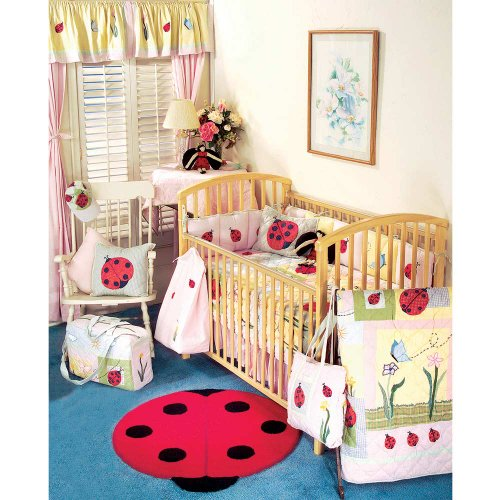 Lady bug crib bedding 9 pieces set with crib quilt and 4 pieces bumper pad and more accessories from Patch Magic