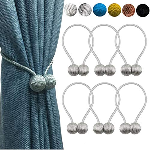LZDecor 6 Pack Magnetic Curtain Tiebacks: 16 inch Decorative Tie Backs for Draperies Magnetic Curtains Holdbacks for Outdoor Kitchen Windows Porch Office-Grey