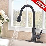 VAPSINT Best Faucet Single-Handle Pull-Down Kitchen Faucet, Oil Rubbed Bronze Kitchen Sink Faucet with Deck Plate