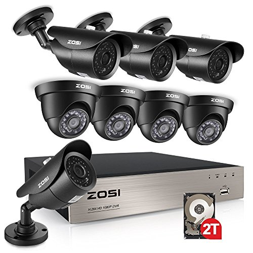 ZOSI 1080p Security Camera System, 8Channel 1080P HD-TVI 4 in 1 Surveillance Video DVR Recorder and (8) Weatherproof 1920TVL 2.0MP CCTV Bullet and Dome Cameras 120ft night vision,2TB Hard Drive