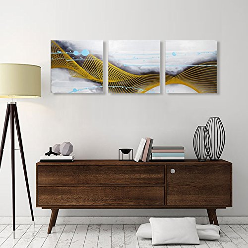 Painted Hand Set Bed (ARTLAND Hand-painted 20x60-inch 'Listening to the Rain'3-piece Framed Abstract Oil Painting on Canvas Wall Art Set)