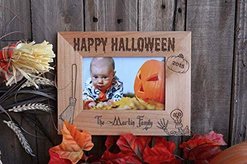 Qualtry Personalized Halloween Picture Frames 4x6 - Horizontal Photo Frame Tabletop Decorations (Halloween Design)