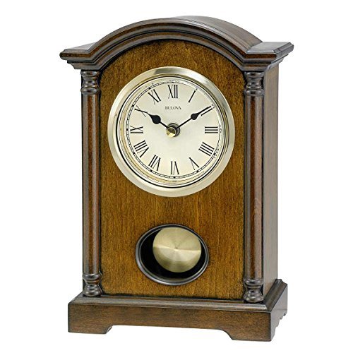 Bulova Dalton Chiming Pendulum Table Clock - Walnut Finish - Gold-Tone (Bulova Desk Clock)