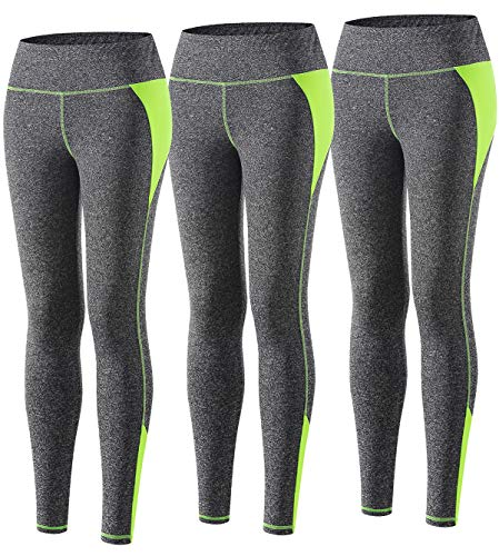 Wantdo Women Yoga Leggings Pack of 3 High Waist Tummy Control Sports Pants for Gym Workout