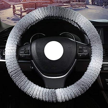 WYDM 36-40cm Cubierta del volante caliente Winter Fluff Suave Resbalón/desgaste Manija resistente del manillar del coche de moda (color : D-38cm/14.96inch)