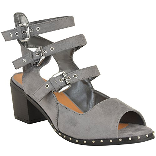Fashion Thirsty Womens Stud Buckle Sandals Low Block Heel Summer Shoes Size Grey Faux Suede