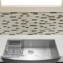 "Firebird 33"" x 22"" x 9"" Apron Farmhouse Handmade Stainless Steel Single Bowl Kitchen Sink w/ Drain Strainer Kit Adjustable Tray"