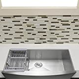 Firebird 33'' x 22'' x 9'' Apron Farmhouse Handmade Stainless Steel Single Bowl Kitchen Sink w/ Drain Strainer Kit Adjustable Tray