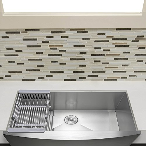 "Firebird 33"" x 20"" x 9"" Apron Farmhouse Handmade Stainless Steel Single Bowl Kitchen Sink w/ Drain Strainer Kit Adjustable Tray"