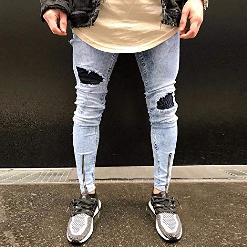 Hiphop Chern Ragazzo Jeans Pantaloni Uomo Elasticizzati Streetwear Blau Fori Gambali Denim Slim Leggings Vintage Sportivi Fit Stretti Blu Con Strappati 30 gwwYqaI