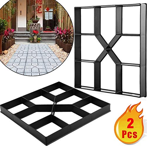 Adel store 2pcs Garden Lawn Path Paver Patio Driveway Concrete Stepping Stone Walk Maker Pavement Mold Brick Cement (Patio Laying Brick Pavers)