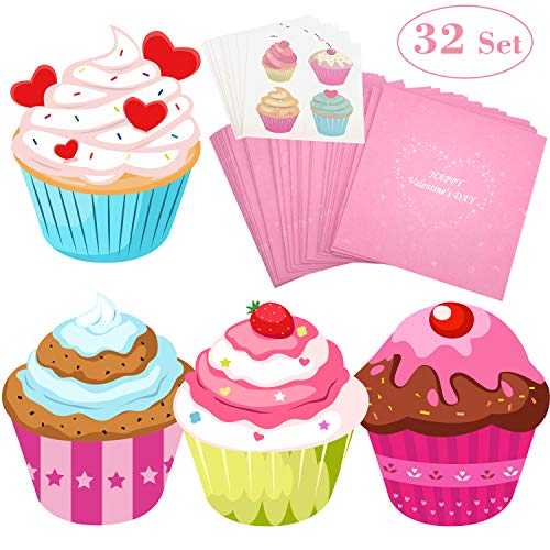 Valentines Day Cards for Kids 32 Set with Temporary Tattoos & Pink Envelopes - Perfect Cupcake Children Valentines Day Greeting Cards for Classmates