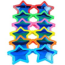 "Seekingtag Jumbo Sunglasses with Blue Lens for Costumes Cosplay Halloween Party Fun Party Favor Photo Booth Props(6 Pack) - Star Shaped 10"" X 4"""