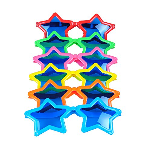 Seekingtag Jumbo Sunglasses with Blue Lens for Costumes Cosplay Halloween Party Fun Party Favor Photo Booth Props(6 Pack) - Star Shaped 10