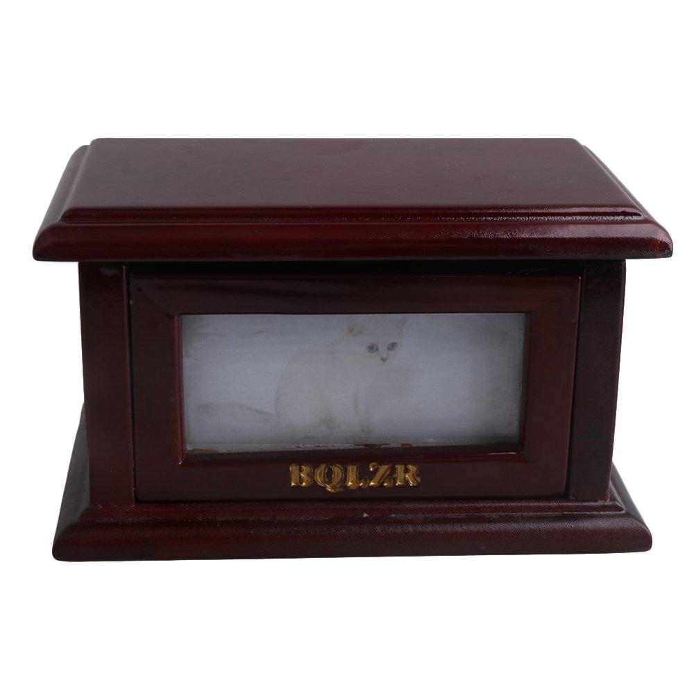 BQLZR 175x 105x 95mm en bois Marron foncé Cadre photo rabattable pour chien et chat Urne funéraire Mémorial Box BQLZRN28627