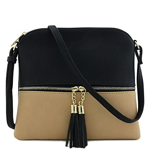 Lightweight Medium Crossbody Bag with Tassel (Black/Taupe)