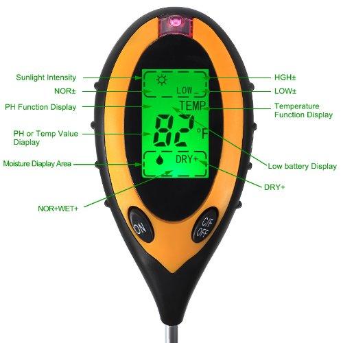 Storm Store 4-in1 Professional LCD Temperature Moisture Sunlight PH Garden Soil Tester Meter