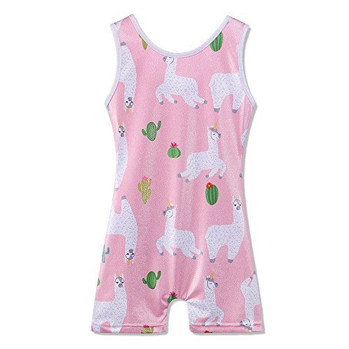 TFJH E Gymnastic Leotard for Girls One Piece Sparkly Kids Cat Alpaca Print Athletic Biketard Shortall Outfits with Shorts 3-11Y