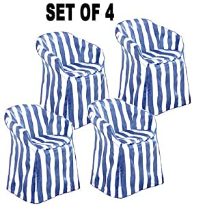 Outdoor chair covers with pads blue stripe decorative for Patio furniture covers amazon ca