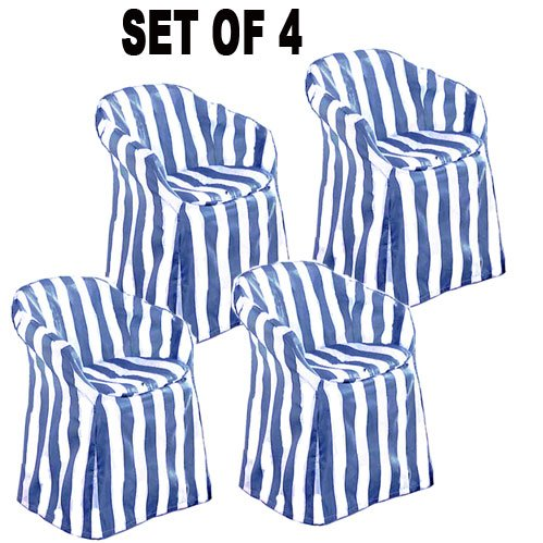 outdoor chair covers with pads blue stripe decorative set of 4