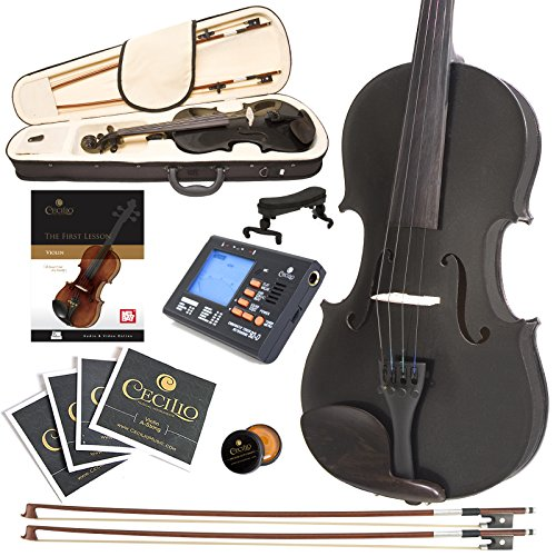 Cecilio CVN-Black Ebony Fitted Solid Wood Violin with Tuner and Lesson Book - Metallic Black, Size 4/4 (Full Size) by Cecilio