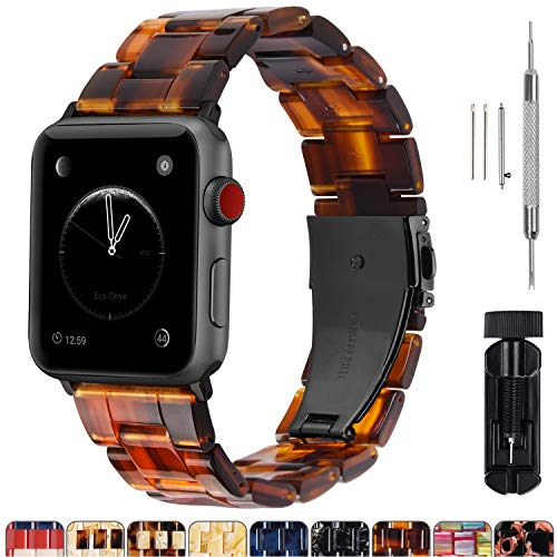 Fullmosa Compatible Apple Watch 44mm/42mm/40mm/38mm, Bright Resin Apple Watch Band for iWatch Band Series 5/4/3/2/1, Hermes, Nike+, Edition, Sport, Dark Amber (Smoky Grey Hardware) 44mm