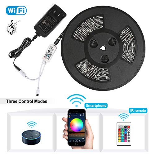 Nexlux LED Strip Lights, WiFi Wireless Smart Phone Controlled Light Strip Kit 5050 LED Lights,Working with Android and iOS System,Alexa, Google Assistant ()