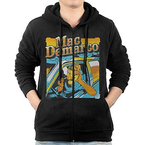 LetBiBi Hoodie Sweatshirt Men's Mac Demarco Smoke Long Sleeve Zip-up Hooded Sweatshirt Jacket Black ()