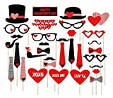 Valentines Day Photo Booth Props Wedding Photo Booth ATTACHED, NO DIY REQUIRED Wedding Party Decorations Photo Booth Mustaches Lips Hearts Attached to the Stick No DIY Required Only By Ussales Seller