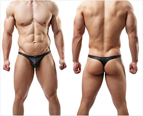 MuscleMate® 2018 S/S, Hot Men's Thong Men's Leather T-Back G-String Comfort Thong Low Raise Underwear (L) Black Leather Thong