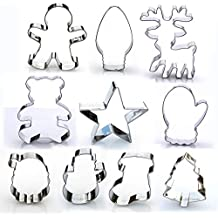 Christmas Cookie Cutter Set - 10 Piece Stainless Steel