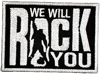 """We Will Rock You 3/"""" W x 2/"""" T Iron//Sew On Decorative Patch"""