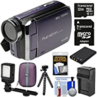 Bell & Howell DV30HD 1080p HD Video Camera Camcorder (Purple) with 32GB Card + Battery & Charger + Case + Tripod + Video Light Kit