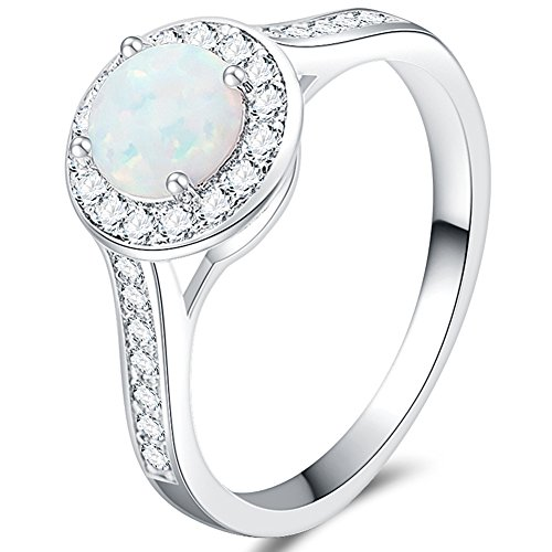 Jude Jewelers Platinum Plated Created Fire Opal Wedding Engagement Ring (Silver, (Platinum Engagement)