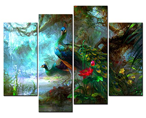 SmartWallArt® - Animal Paintings Wall Art two Peacocks Near a Pool with Red Lotus in the Forest 4 Panel Picture Print on Canvas for Modern Home Decoration (Wall Painting Peacock)