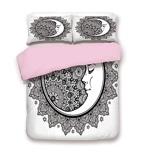 (Pink Duvet Cover Set/FULL Size/Interlace Round Ethnic Mandala and Crescent Moon with Ethnic Folkloric Graphic/Decorative 3 Piece Bedding Set with 2 Pillow Sham/Best Gift For Girls Women/Black White)