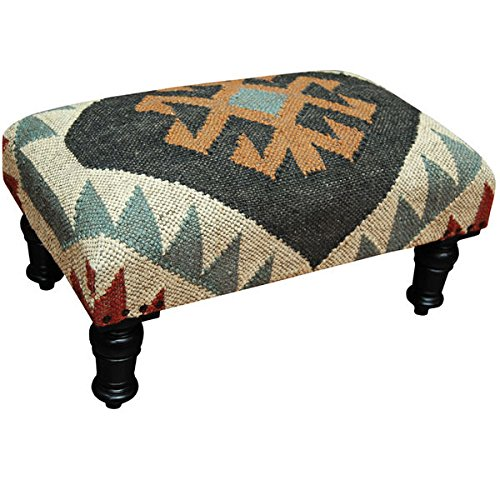Living Room Furniture/ Stool Geometric Indo Handmade Wool  Jute Kilim Upholstered Wooden Stool – Assembly Required SSAA205B. 20 H x 12 L x 10 W