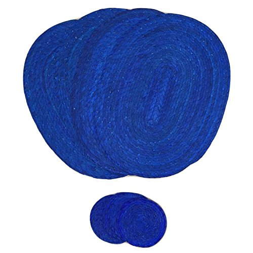 Royal Blue Placemats and Coasters - Set of 4 - Mexican Decor Style - Eco-Friendly, Handmade, Woven and Reversible - Great for Dining Table / Kitchen. Indoor / Outdoor use - Mantel Azul con Portavasos