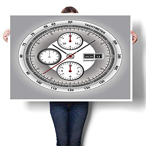 """SCOCICI1588 Canvas Wall Art for Bedroom Home Decorations Wrist Watch watchface with Chronograph and tachymeter White Edition Sport Watch Canvas,20"""" W x 12"""" L for Home Decoration (Frameless)"""