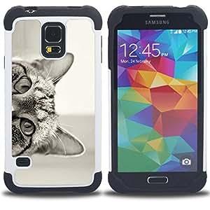 "Hypernova Híbrido Heavy Duty armadura cubierta silicona prueba golpes Funda caso resistente Para SAMSUNG Galaxy S5 V / i9600 / SM-G900 [Gato que mira a escondidas negro oídos Blanco Ojos""]"