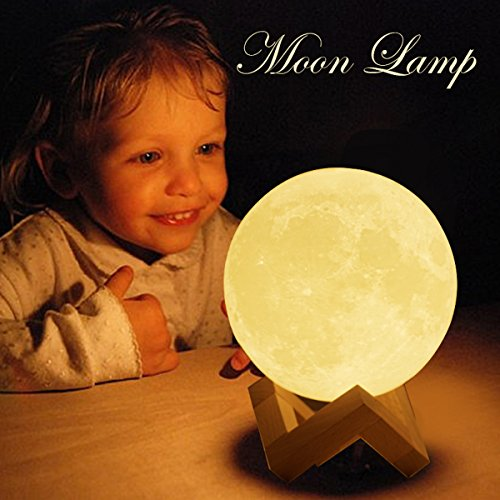Sybedu Moon Lamp,3D Printed Children Night Lights for Bedroom Bedside, Eye Caring LED with USB Recharge, 2 Colors Adjustable Brightness(7.3'') by Sybedu