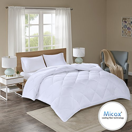Infused Dryer (Comfort Spaces Plush MicaX Cooling Fiber Filled Down Alernative Comforter - Duvet Insert - King/Cal-King - White, Box stitches - Moisture Wicking, Temperature Regulating, Hypoallergenic - All Season)