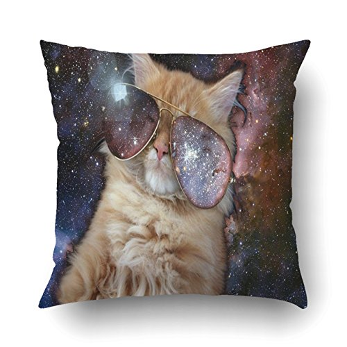 Emvency Pillowcases Dec Cool cat with cool Sunglasses Outer spacce Printing Cushion Cover Throw Pillow Cases Square 18x18 - Ethical Sunglasses