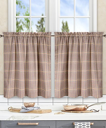 (Ellis Curtain Morrison Multi Colored Plaid 100-Percent Cotton (Tailored Tier Curtains, 56x24